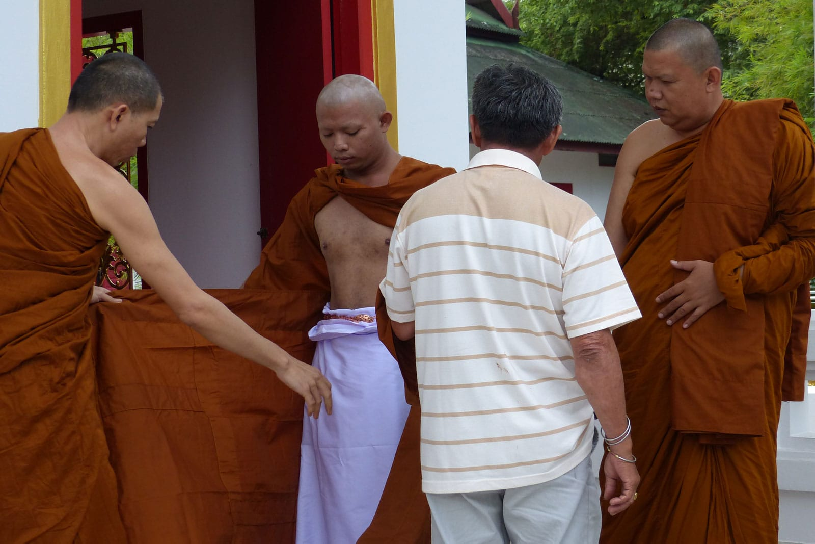 to the Buddhist monk orange clothes